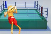 picture of boxing ring  - Thai style boxing figure poised to box with boxing ring in background - JPG