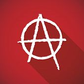 stock photo of anarchists  - Illustration of a long shadow anarchy icon - JPG