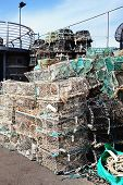 picture of trap  - Lobster traps and crab pots at a dock in Brixham - JPG