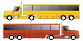picture of motor-bus  - Conventional truck pulling custom bus shaped trailer - JPG
