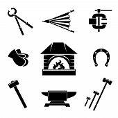 pic of ironworker  - Set of blacksmith icons - JPG
