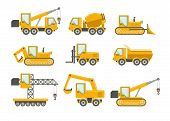 stock photo of excavator  - Vector construction icons set - JPG