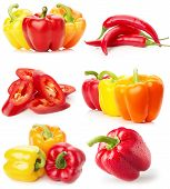 image of yellow-pepper  - collection of red and yellow peppers isolated on the white background - JPG