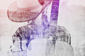 stock photo of bronco  - Bearded Cowboy Farmer with Acoustic Blues Guitar and Straw Hat on Western American Horse Ranch Double Exposure Image - JPG