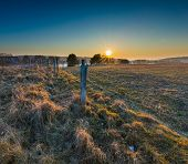 pic of barbed wire fence  - Early spring meadow with barbed wire fence at sunset - JPG