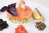 image of tartar  - tartar salad with salmon and avocado - JPG
