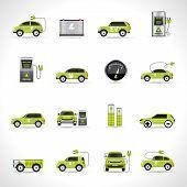 stock photo of transportation icons  - Electric car eco energy transportation icons set isolated vector illustration - JPG