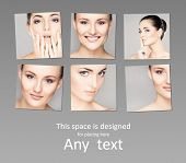 stock photo of wrinkled face  - Collection of different female spa portraits - JPG