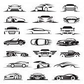 set of twenty-one car icons poster