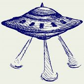 image of flying saucer  - Space flying saucer - JPG