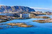 image of lofoten  - Bridges in Lofoten Islands over blue fjords - JPG