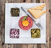 picture of tartar  - fresh beef tartar with egg - JPG