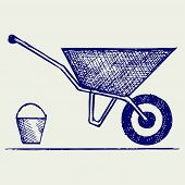 picture of wheelbarrow  - Garden wheelbarrow - JPG