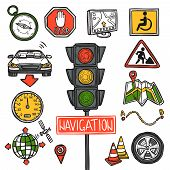pic of gps navigation  - Navigation gps position and geography location decorative icons sketch set isolated vector illustration - JPG
