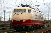 image of locomotive  - famous German electric locomotive in a closeup - JPG
