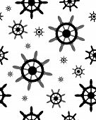 foto of rudder  - Seamless pattern with black silhouettes of rudder on white - JPG
