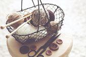 pic of wooden basket  - Vintage knitting needles - JPG