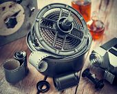 stock photo of reagent  - Developing tank with its film reels photo film rolls cassette retro camera and chemical reagents. ** Note: Shallow depth of field - JPG