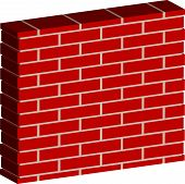 foto of spatial  - 3D Spatial Brick wall brickwork with regular pattern isolated on white - JPG