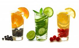 picture of nutrients  - Three types of detox water with fruit in glasses isolated on a white background - JPG