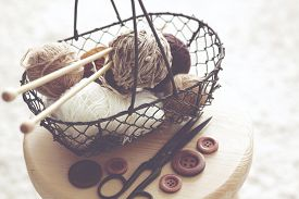 foto of stool  - Vintage knitting needles - JPG