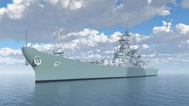 picture of battleship  - Computer generated 3D illustration with an American battleship of World War II - JPG