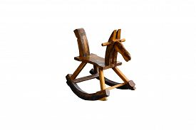 stock photo of seesaw  - rocking seesaw horse isolated on white background - JPG