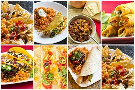 image of enchiladas  - Collage of various Mexican dishes including enchiladas taquidos nachos and fajitas - JPG