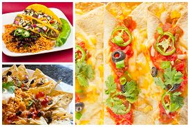 pic of enchiladas  - Collage of various Mexican dishes including enchiladas taquidos nachos and fajitas - JPG