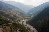image of sherpa  - View on Melamchi River and mountains surrounding the riverbed - JPG