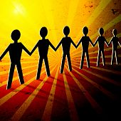 People illustration showing team strenght poster