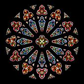picture of stained glass  - Stained glass in a cathedral - JPG