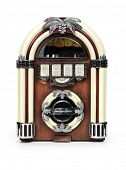 stock photo of jukebox  - Retro juke box radio isolated on white background with clipping path - JPG