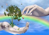 stock photo of healing hands  - three dimensional conceptual eco - JPG