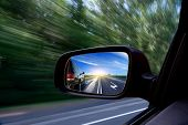stock photo of speeding car  - Car view from the window - JPG