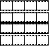 image of mm  - 4 blank strips of a 35 mm filmroll - JPG