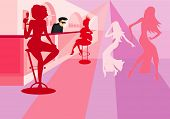 vector image of dancing girls in bar