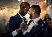 Newlywed Gay Couple Dancing on Wedding Celebration poster