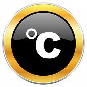 Celsius black web icon with golden border isolated on white background. Round glossy button. poster
