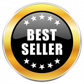 Best seller black web icon with golden border isolated on white background. Round glossy button. poster