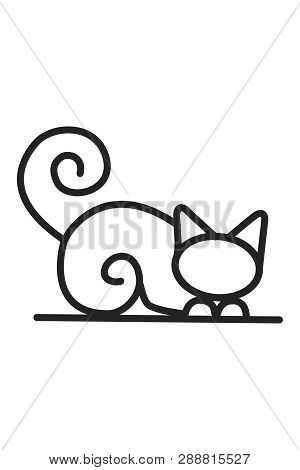 poster of Sitting Cat Icon . Cat Vector. Simple App Cat. Sitting Cat Drawing. Sitting Cat Cartoon. Sitting Cat