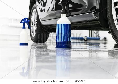 poster of Cars In A Carwash. Car Wash With Foam In Car Wash Station. Carwash. Washing Machine At The Station.