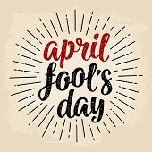 April Fools Day Calligraphic Handwriting Lettering. Vector Black And Red Illustration poster