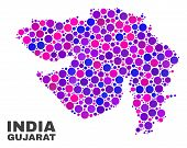 Mosaic Gujarat State Map Isolated On A White Background. Vector Geographic Abstraction In Pink And V poster