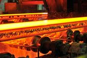 hot steel on conveyor