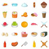 Ingredient Icons Set. Cartoon Set Of 25 Ingredient Icons For Web Isolated On White Background poster