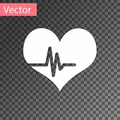 White Heart Rate Icon Isolated On Transparent Background. Heartbeat Sign. Heart Pulse Icon. Cardiogr poster