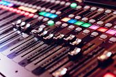 Professional Studio Equipment For Sound Mixing. Close-up View Of Audio Control Buttons. Media Produc poster