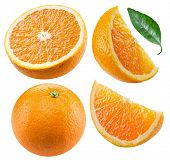 Set of orange fruits and orange slices isolated on white background. File contains clipping path for poster
