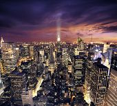 stock photo of new york skyline  - Big Apple after sunset  - JPG